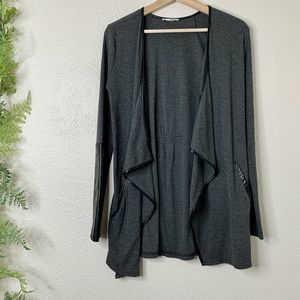 Mystree Cardigan Open Front Drape Sweater Gray S